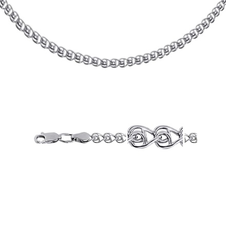 "Love-link Silver Chain 4.1 mm | 5/32"" Wide. Hypoallergenic 925 Silver, Rhodium Plating"