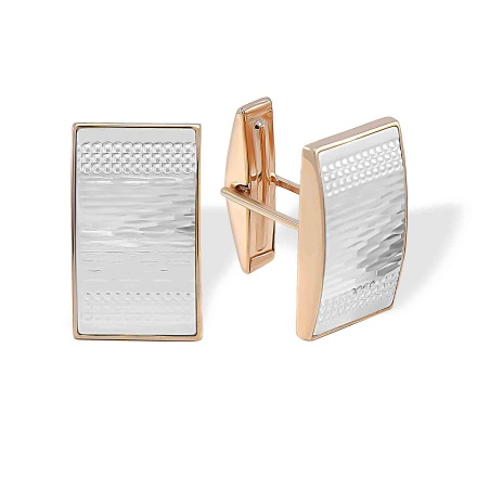 Hammered Gold Cufflinks. White and Rose Gold