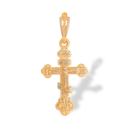 'All-Seeing Eye' Cross Pendant. Hypoallergenic 585 (14K) Rose Gold