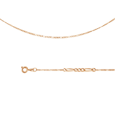 Figaro-link Chain (0.3 mm Gold Wire). Diamond Cut Solid Rose Gold