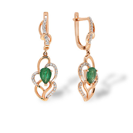 Emerald and Diamond Long Earrings. Art Deco-inspired Rose Gold Dangle Earrings