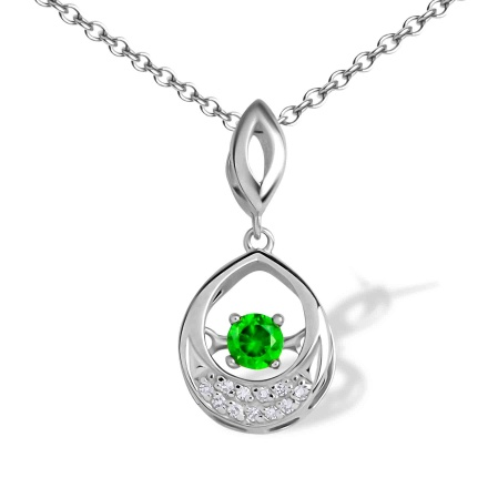Fluttering Demantoid and Diamond Pendant. 585 (14K) Hypoallergenic White Gold