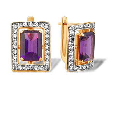 Baguette-cut Amethyst and CZ Earrings