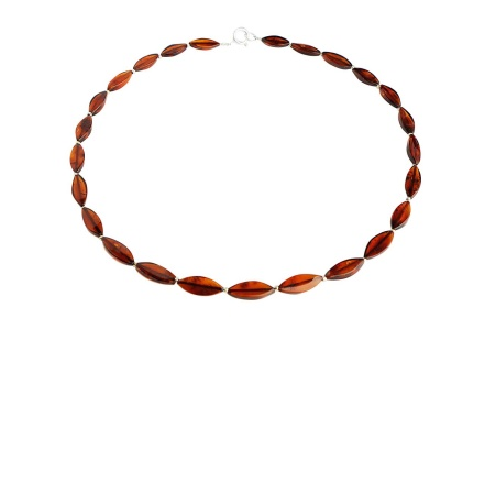 Marquise-Shaped Cherry Amber Beads