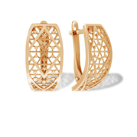 Arabesque Motif Rose Gold Earrings