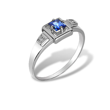 Geometric Sapphire and Diamond Ring. 585 (14K) Nickel-Free White Gold