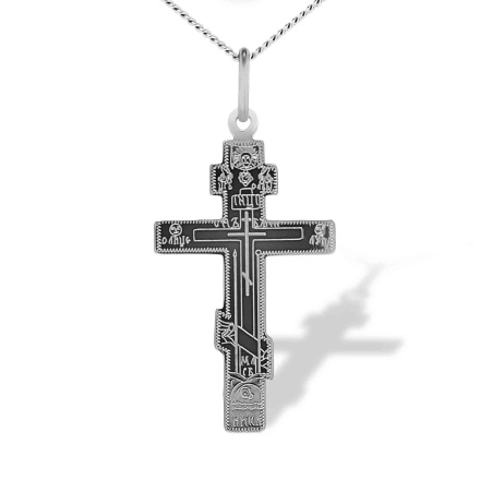 Meaningful Orthodox Body Cross. White Gold
