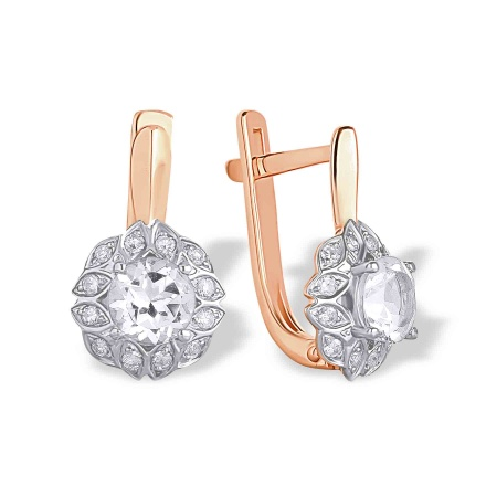 Colorless Topaz and Diamond Wheat Earrings. Hypoallergenic 585 (14K) Rose Gold