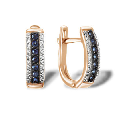 Sapphire and Diamond Striped Earrings