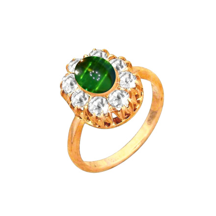 Halo Design Oval Cut Faux Emerald & CZ Ring