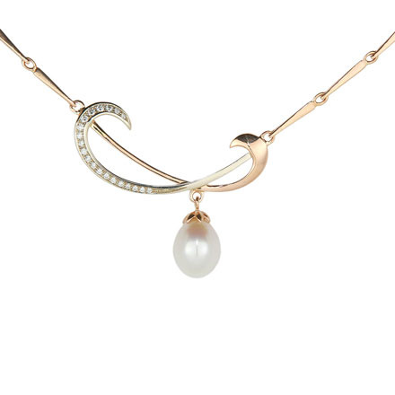 Pearl and Diamond Two Tone Gold Necklace