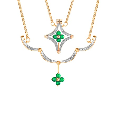 Emerald and Diamond Convertible Necklace. Hypoallergenic 585 (14K) Rose Gold