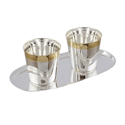 Silver Whisky Drinkware Set For Two. Silver Whisky Tumblers and Serving Tray