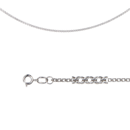 Double Curb-link Chain (.4mm Wire). Diamond Cut Technique Over Sterling Silver