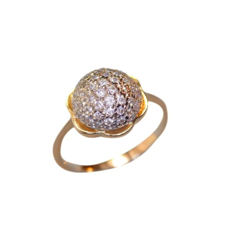 Pave CZ Ring. Rose and White Gold