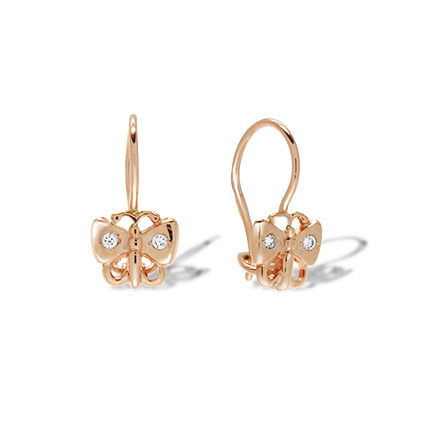 CZ Butterfly Earrings. Hypoallergenic 585 Rose Gold