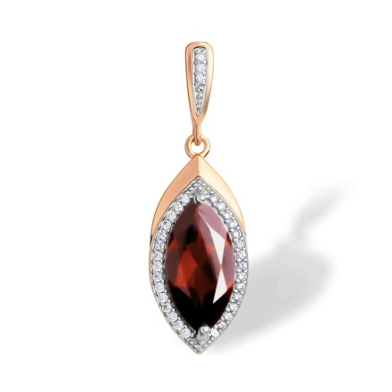 Marquise-shaped Garnet Pendant. 'Empress' Series, 585 Rose Gold