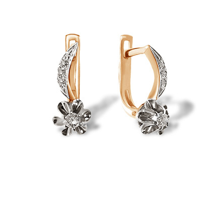 Antique Style Diamond Earrings. 585 (14kt) Rose and White Gold