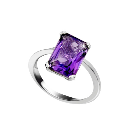 Metaphysical Amethyst Ring. Hypoallergenic 585 (14K) White Gold