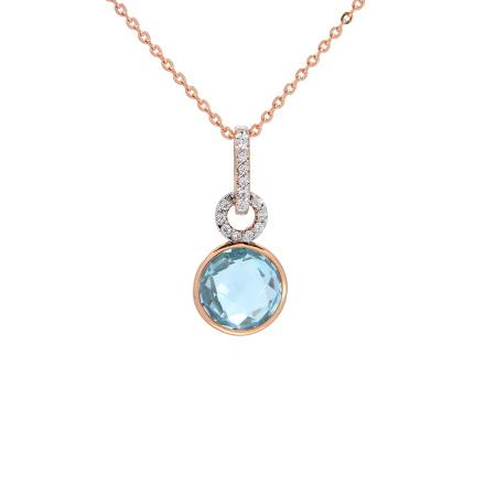 Gemstone rose gold pendants blue topaz rose gold pendant golden blue topaz cz pendant aloadofball Choice Image