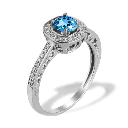 Aquamarine and Diamond Open Gallery Ring. Hypoallergenic 585 (14K) White Gold