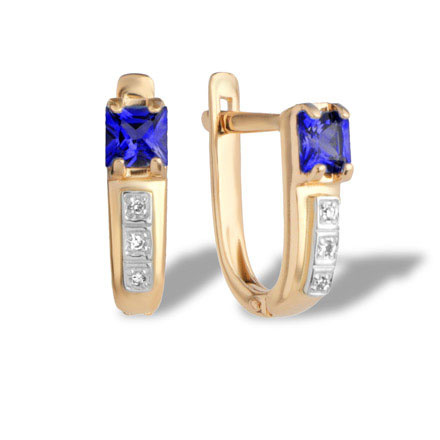 Princess Cut Sapphire and Diamond Earrings. 585 (14K) Hypoallergenic Rose Gold