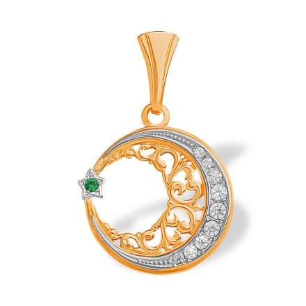 Star and Crescent Filigree Gold Pendant. Green and White CZ