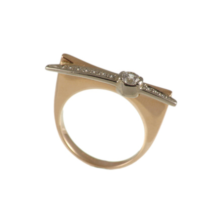 Cz rose and white gold ring