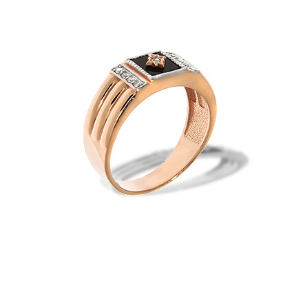 Black Onyx Rose Gold Signet for Men