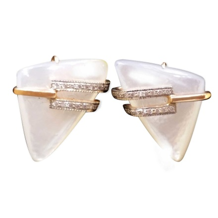 Triangular Mother-of-Pearl and CZ Earrings. 585 (14K) Rose and White Gold