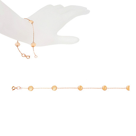 Rose Gold Disc Station Bracelet. Wrist or Ankle Bracelet