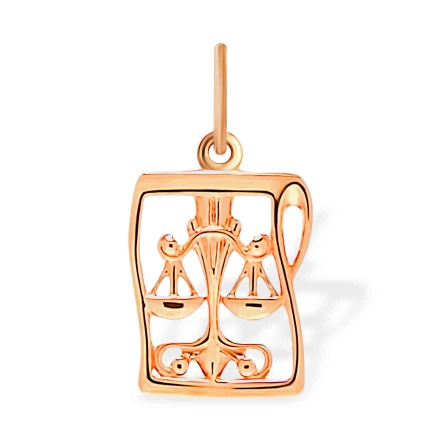 Manuscript-inspired Gold Pendant 'Libra'. September 23 - October 23