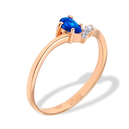 Pear-shape Sapphire and Diamond Ring. 585 (14kt) Rose Gold