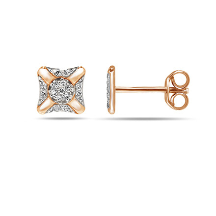 """Star Shooting"" Diamond Stud Earrings. Cadmium-Free 585 Rose Gold, Friction Backs"