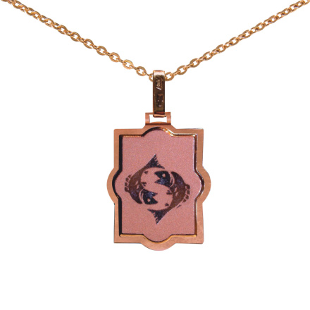 Laser-cut Rose Gold Pendant 'Pisces Zodiac'. February 19 - March 20
