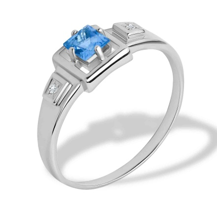Princess Cut Aquamarine and Diamond Ring. Hypoallergenic 585 (14K) White Gold