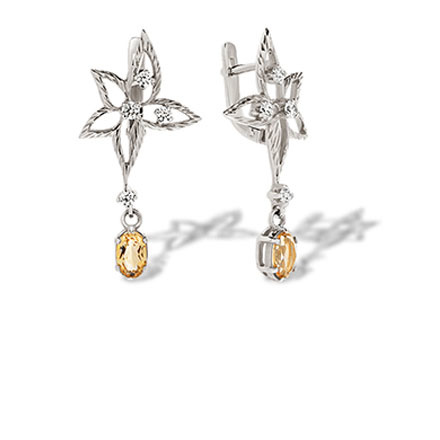 Citrine white gold earrings