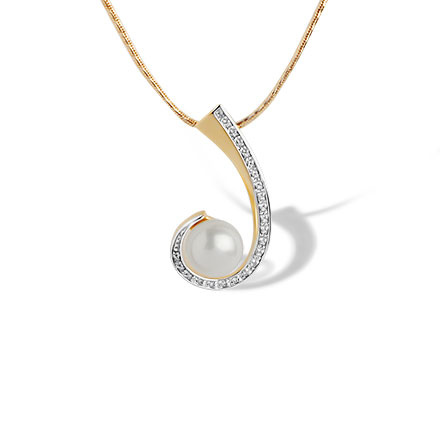 Pearl and Diamond Swirl Pendant. 585 (14kt) Rose Gold, Rhodium Detailing