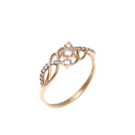 Swarovski CZ 3 Centers Ring. 585 (14K) Rose Gold