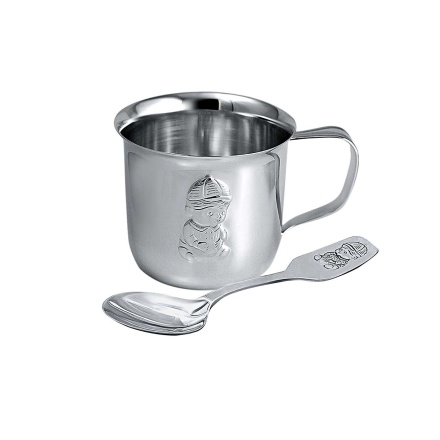 'A Kiddy Boy' Embossed Silver Table Set. Silver Cup and Spoon With Niello