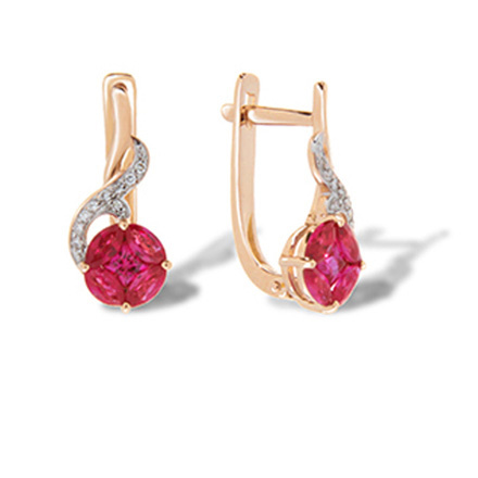 Ruby rose gold earrings