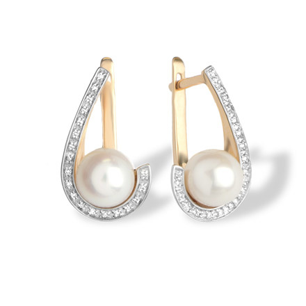 Pearl and Diamond Swirl Earrings. Hypoallergenic 585 (14K) Rose Gold