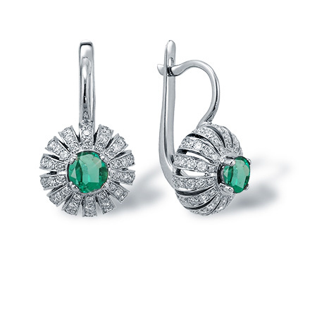 "Eastern Motif Emerald and Diamond Earrings. ""The Art of Seduction"" Series"
