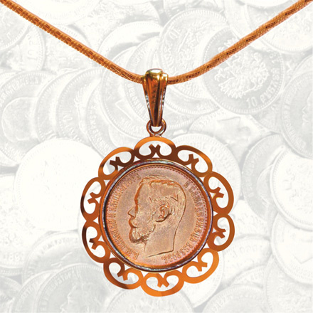 Gold Coin Pendant with Lace-Like Decor