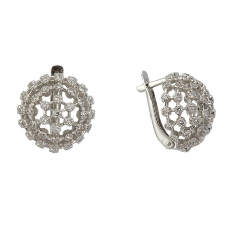 Diamond dandelion flower earrings