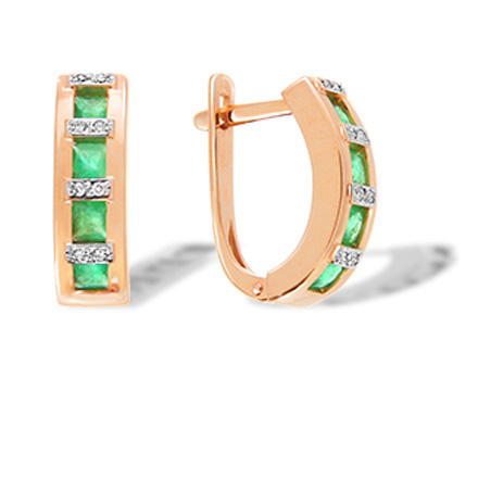 Channel Set Emerald with Diamonds Earrings. 585 (14kt) Rose Gold, Rhodium Detailing