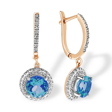 Double Halo Dangle Earrings. Blue Topaz and Cubic Zirconia