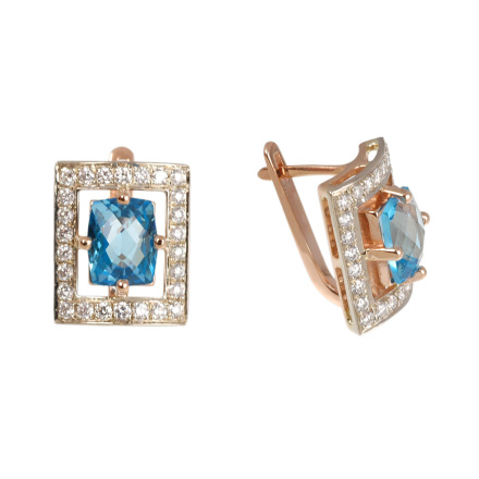 Blue topaz Russian gold earrings