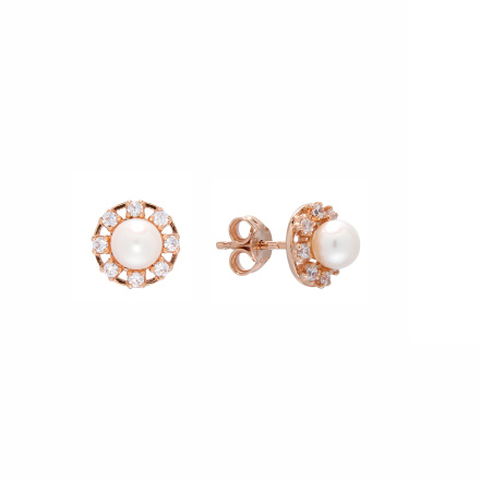 Pearl and CZ Stud Earrings. Butterfly Back