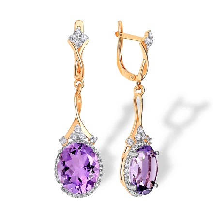 Oval-shaped Amethyst Cocktail Earrings. 'Empress' Series, 585 (14K) Rose Gold